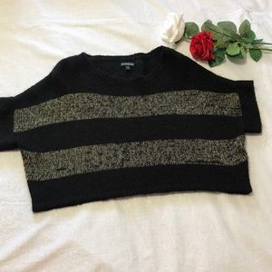 Express Black and Gold Fuzzy Crop Sweater S